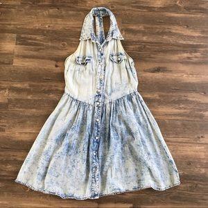 Acid-Washed Studded Denim Halter Dress
